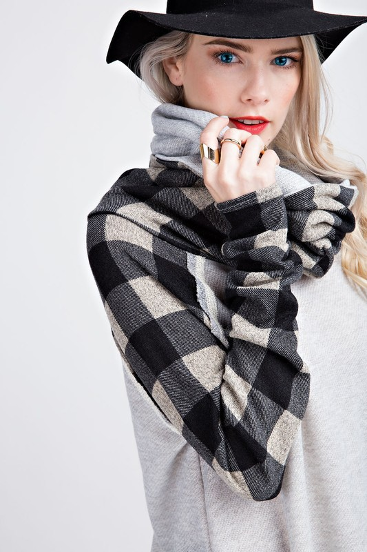 Sincerely Yours Plaid Cowl Neck Tunic - Heather Grey