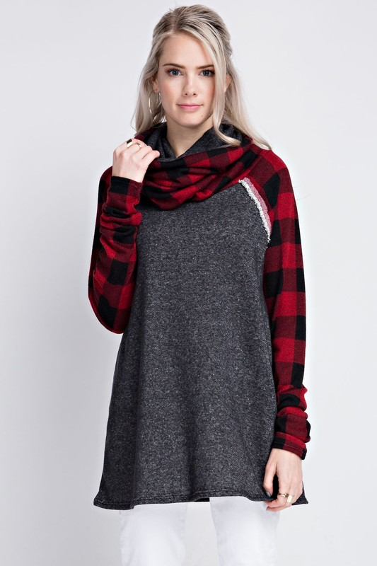 Sincerely Yours Plaid Cowl Neck Tunic - Charcoal