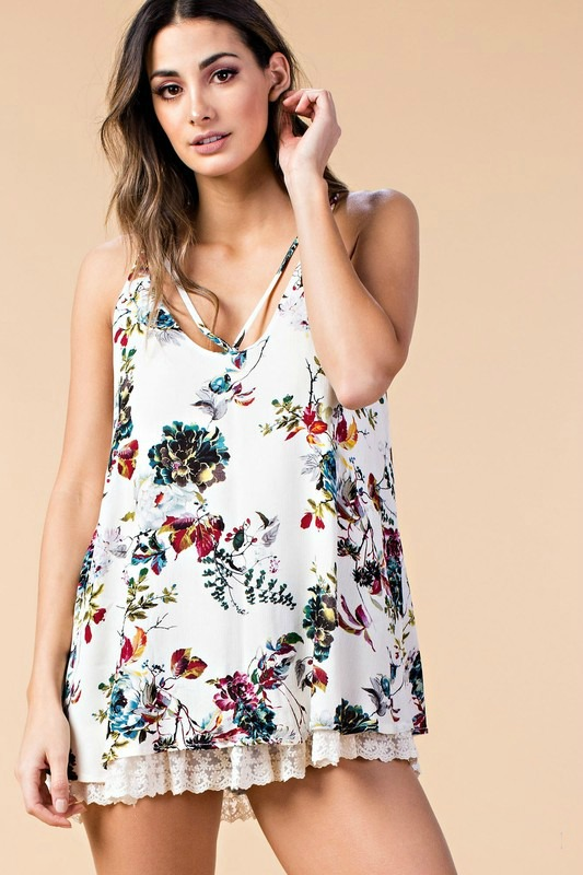 Plus Size Lovely Life Floral Top - Ivory