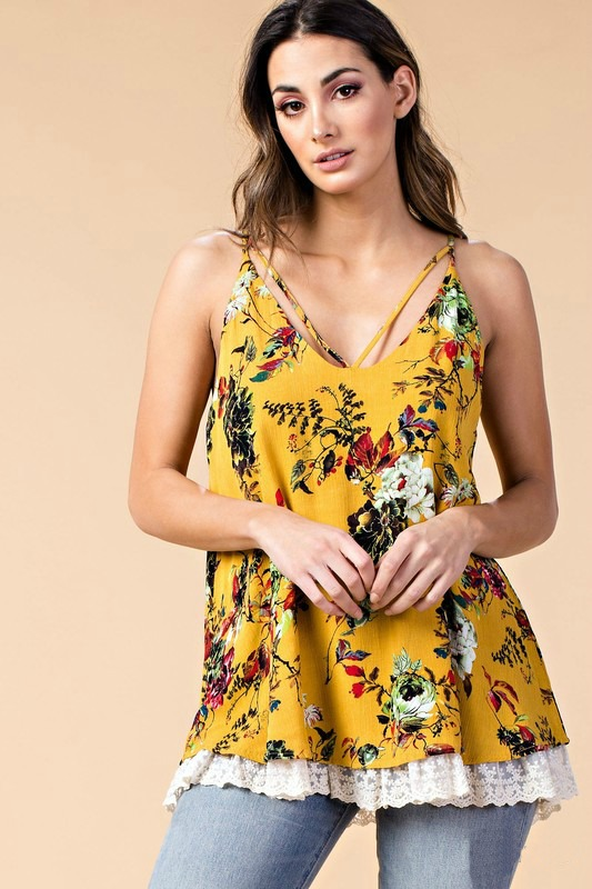 Plus Size Lovely Life Floral Top - Mustard