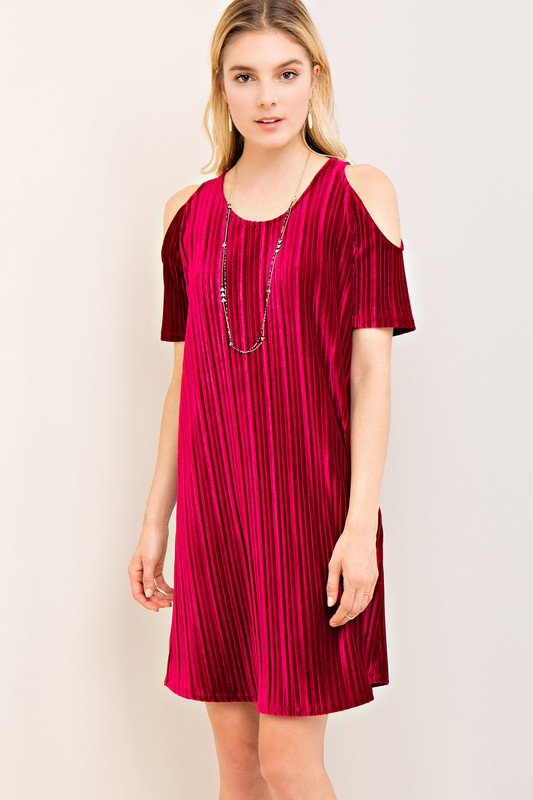 Cold Shoulder Party Dress - Wine