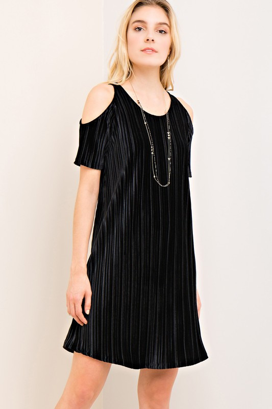 Cold Shoulder Party Dress - Black