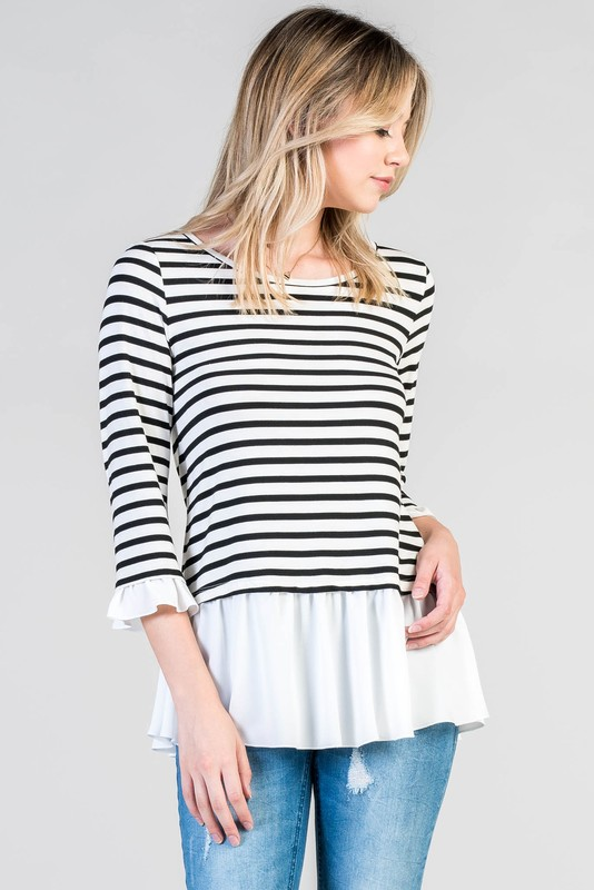 Great Day Out Striped Top - Black and Ivory