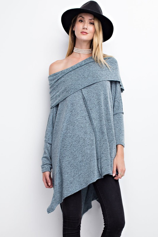 Cozy Cowlneck Sweater - Faded Teal