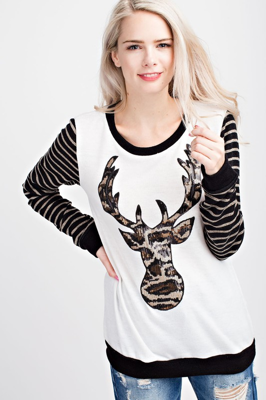 Animal Print Reindeer Top - Ivory
