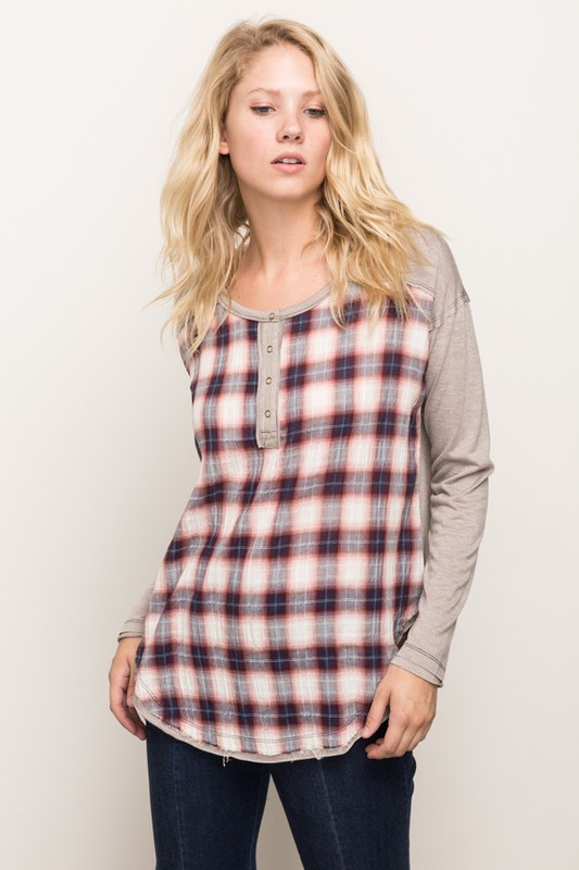 Just A Little While Plaid Panel Top (Small Left)