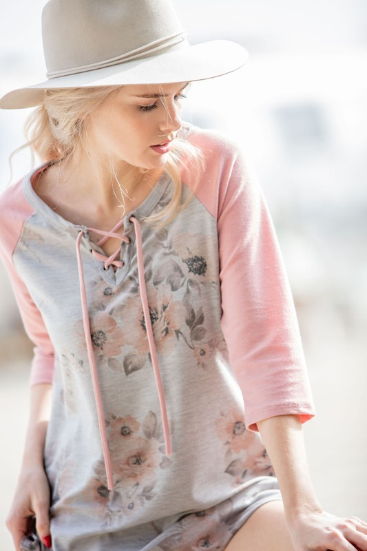 Faded Floral Casual Top