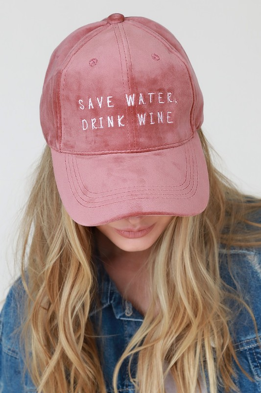 Save Water Drink Wine Baseball Cap - Dusty Pink