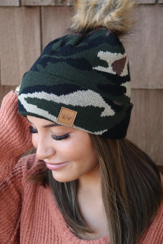 Panache Green Camo Knit Beanie With Pom Pom