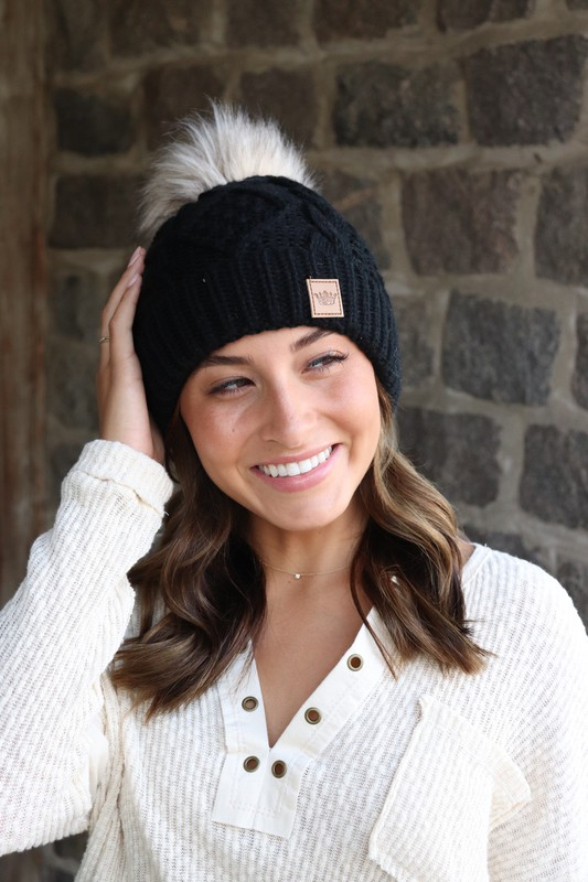 Panache Black Cable Knit Beanie