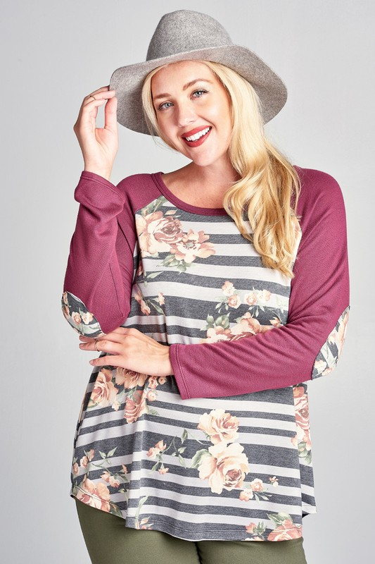 Plus Size Burgundy and Grey Striped Floral Raglan