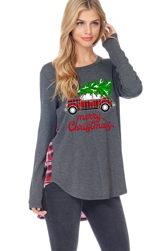 Merry Christmas Plaid Car and Tree Graphic Top