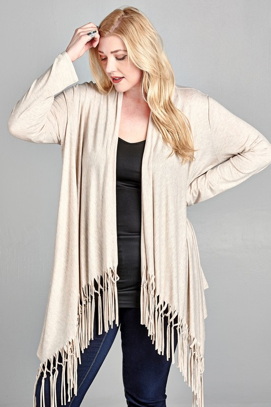 Plus Size All About Fringe Cardigan - Oatmeal