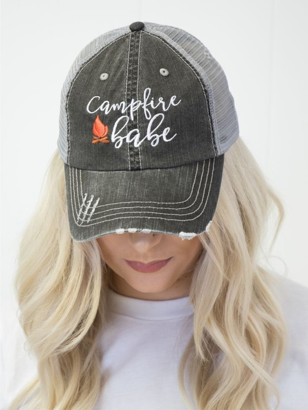 Campfire Babe Distressed Trucker Hat