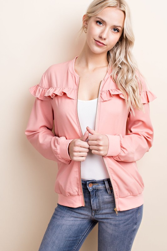 Dusty Rose Sweetheart Bomber Jacket