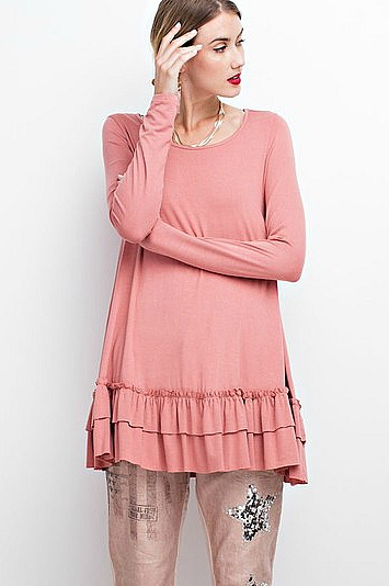 Plus Size Long Sleeve Double Ruffle Tunic - Light Brick