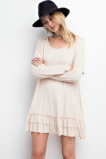Plus Size Long Sleeve Double Ruffle Tunic - Tan