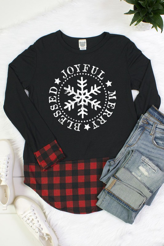 Joyful, Merry, and Blessed Snowflake Top