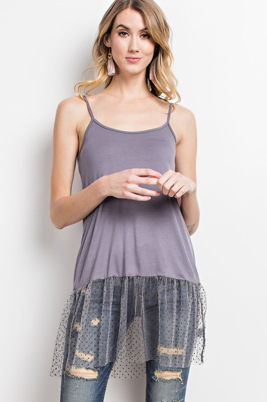 Sheer Dot Mesh Tunic Tank - Grey