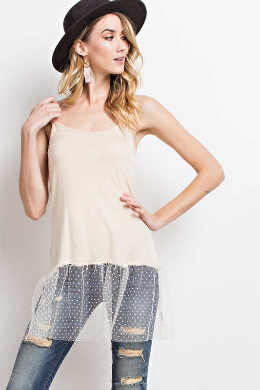 Sheer Dot Mesh Tunic Tank - Natural