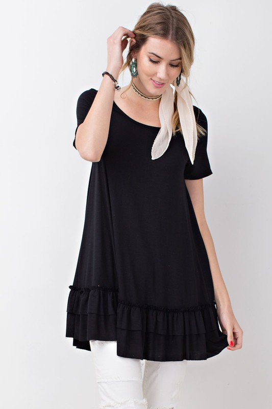 Short Sleeve Double Ruffle Tunic - Black