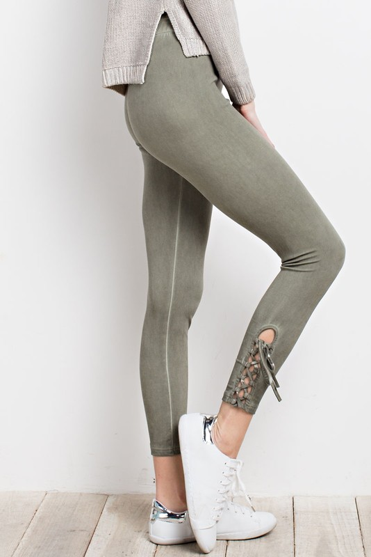 Lace Up Leggings - Faded Olive