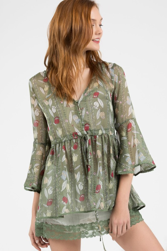 Lovely Leaf Print Floral Top