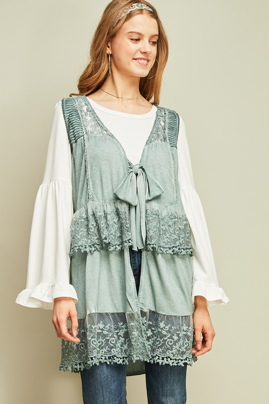 Travel to Paris Lace Vest  - Sage