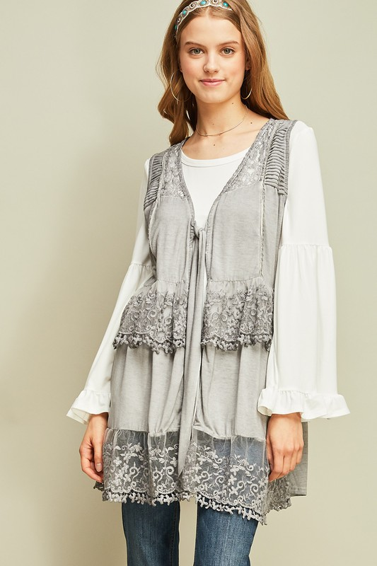 Travel to Paris Lace Vest  - Grey