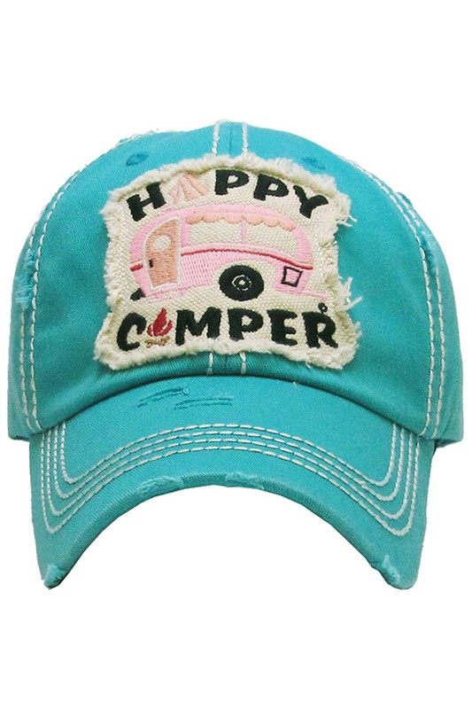 Happy Camper Vintage Ball Cap - Turquoise