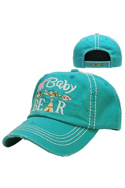 Kid Size Baby Bear Vintage Ball Cap - Turquoise
