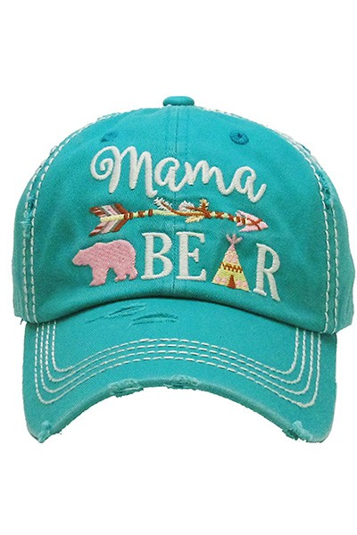 Mama Bear Vintage Ball Cap - Turquoise