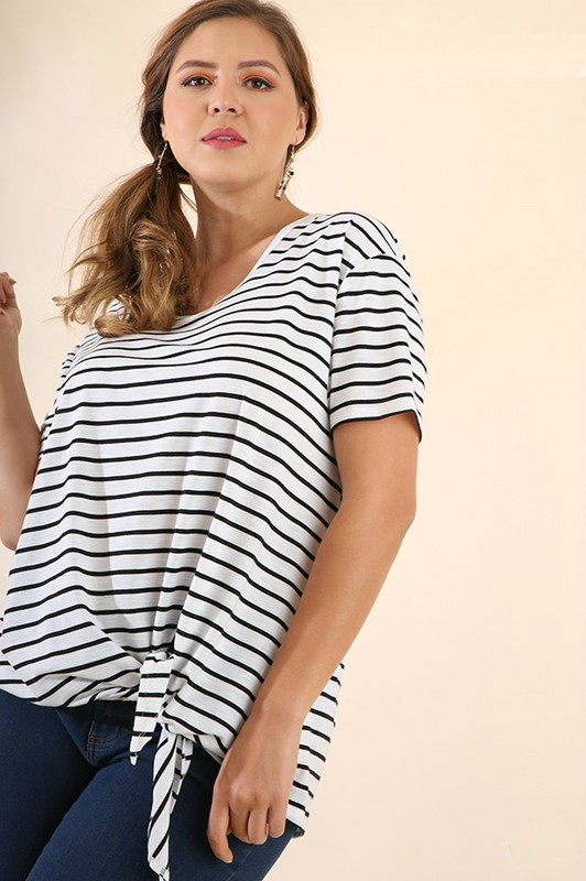 Plus Size Cranston Striped Knotted Tee