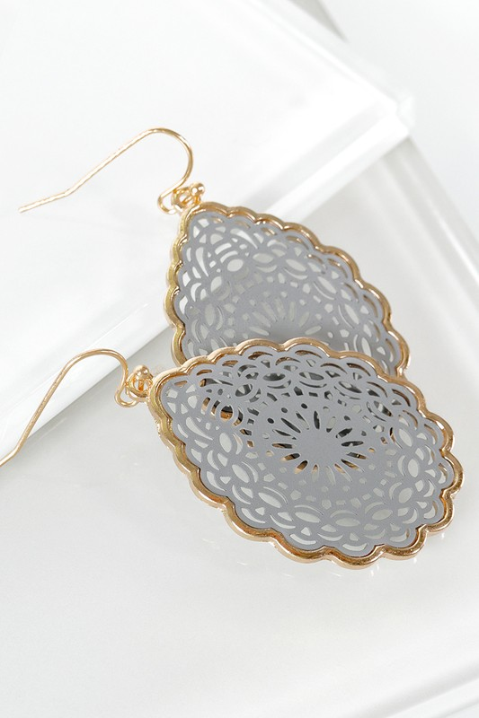 Mandala Inspired Teardrop Earrings - Grey