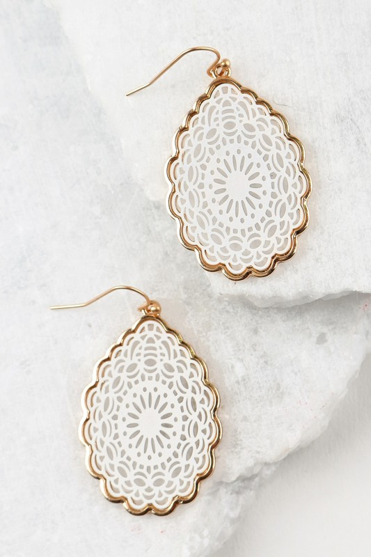 Mandala Teardrop Earrings - White