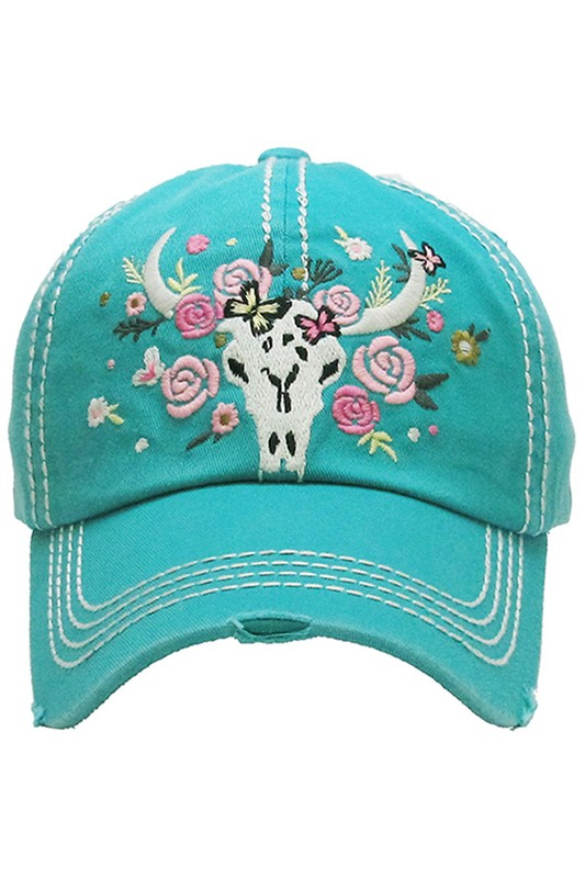 Flowery Longhorn Vintage Ball Cap - Turquoise