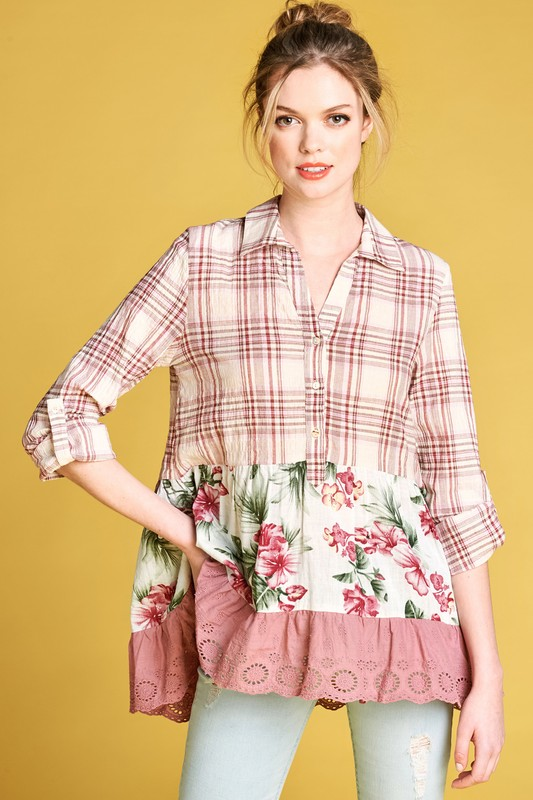 Country Girl Life Plaid Shirt - Mauve