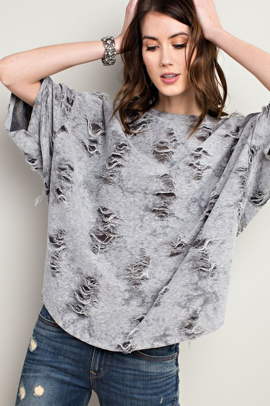 Distressed in Grey Top
