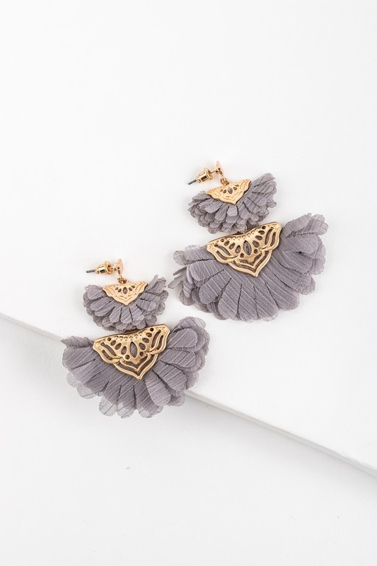 Fan Favorite Earrings - Grey