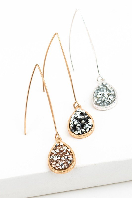 Glitter Stone Earrings (3 Colors)