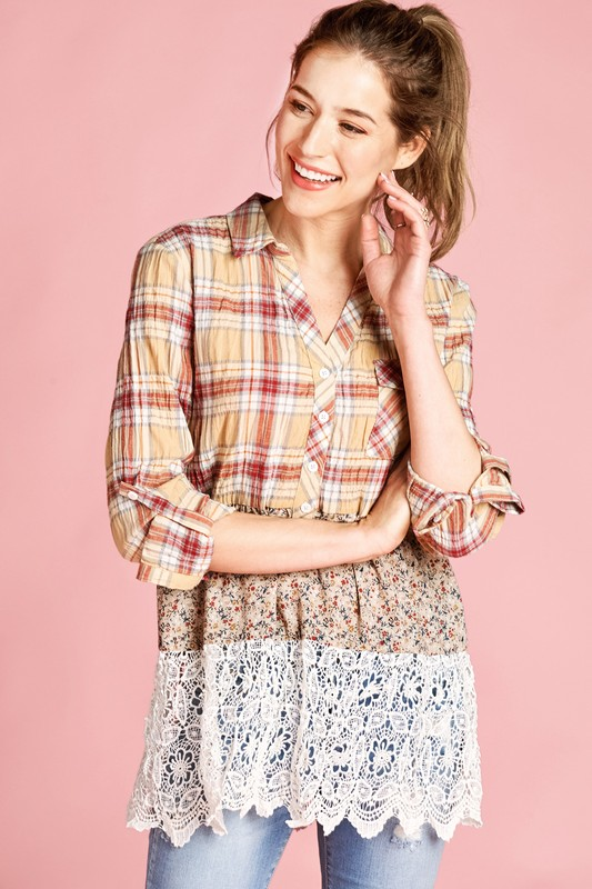 Blissfully Yours Floral and Lace Top