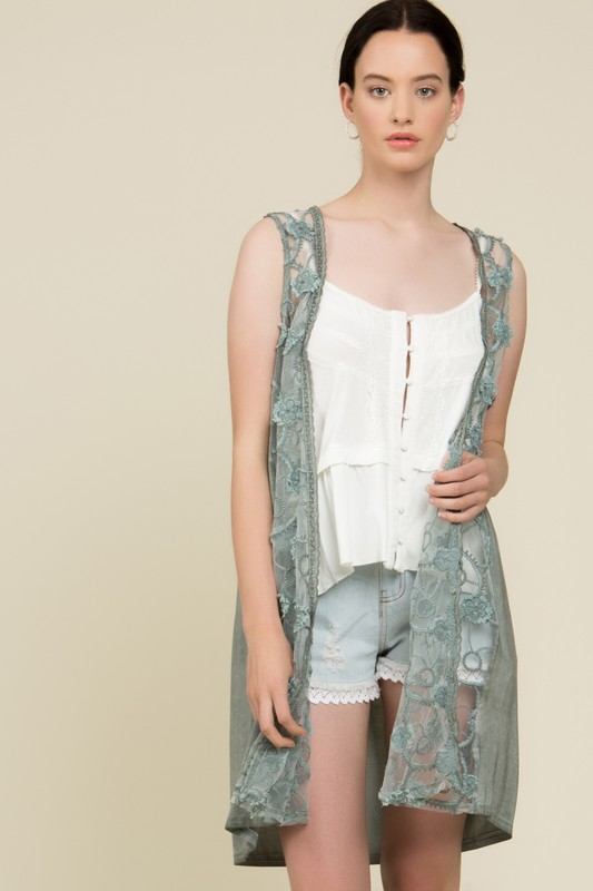 I'm Smitten Lace Vest - Dusty Mint