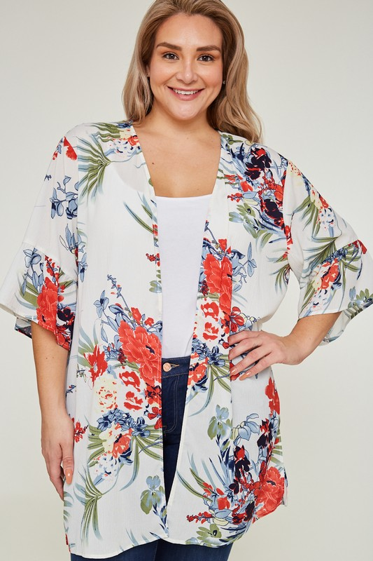 Plus Size Tropicana Ruffle Cardigan
