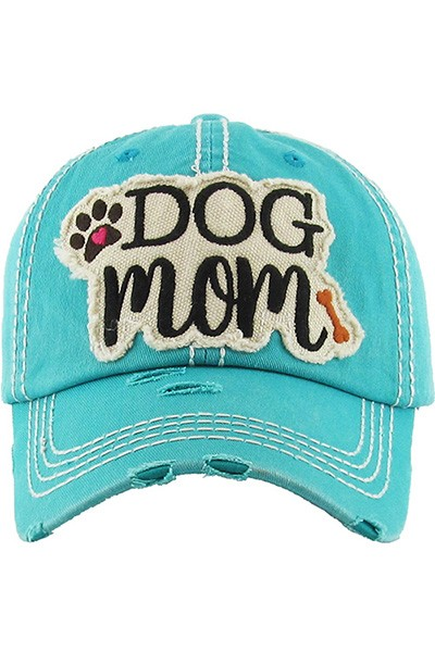 Dog Mom Baseball Cap - Turquoise
