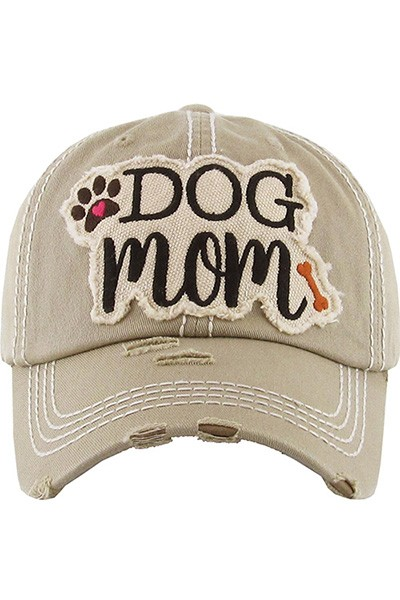 Dog Mom Baseball Cap - Khaki