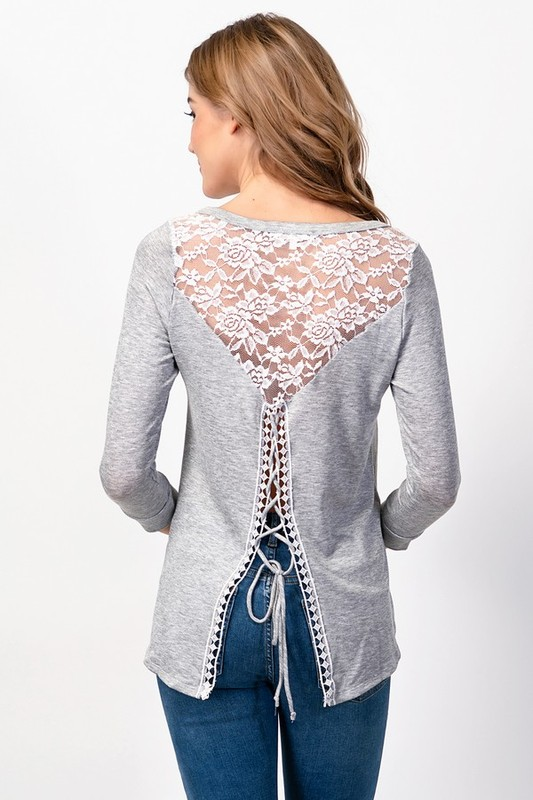 Grey Melody Lace Up Top