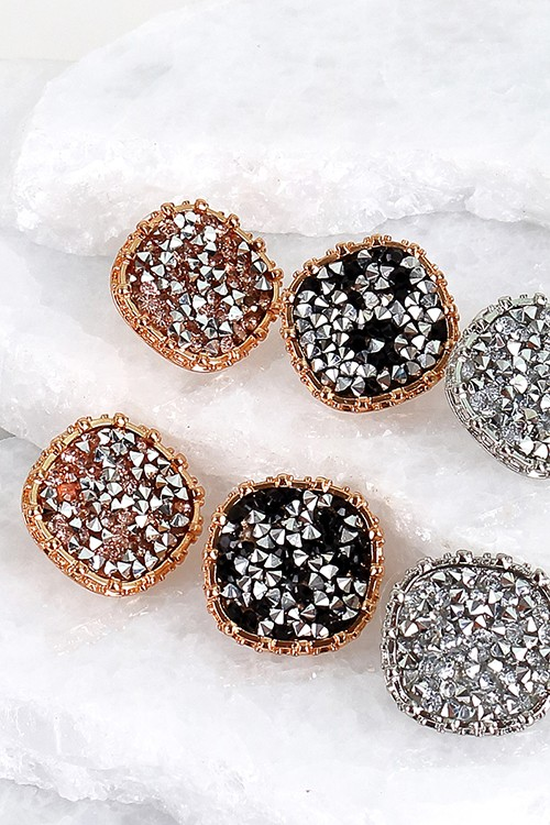 Round Glitter Stone Post Earrings - More Colors