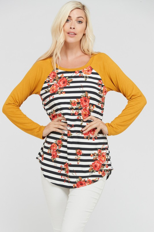 Plus Size Once In My Life Mustard Floral Top