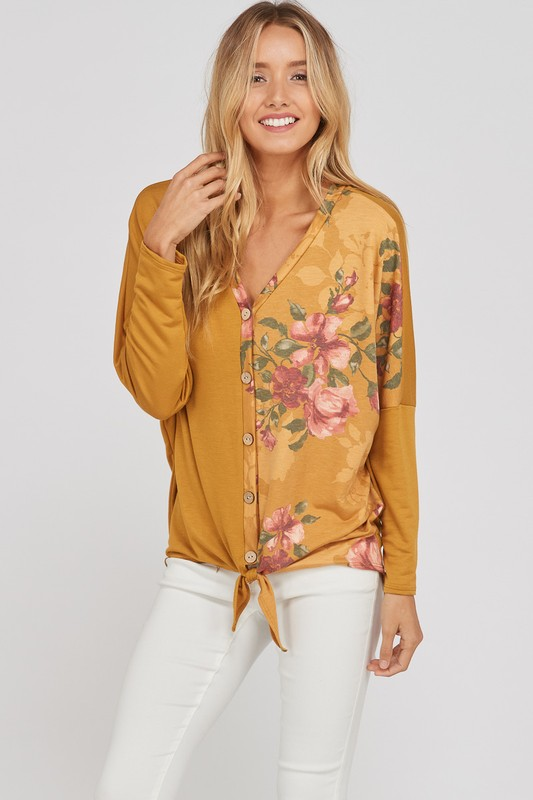 Plus Size Knotted Bliss Top - Mustard