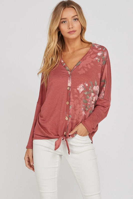 Plus Size Knotted Bliss Top - Marsala